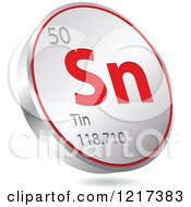 Clipart Of A 3d Floating Round Red And Silver Tin Chemical Element Icon Royalty Free Vector Illustration
