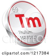 Clipart Of A 3d Floating Round Red And Silver Thulium Chemical Element Icon Royalty Free Vector Illustration