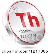 Clipart Of A 3d Floating Round Red And Silver Thorium Chemical Element Icon Royalty Free Vector Illustration