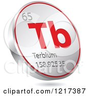 Clipart Of A 3d Floating Round Red And Silver Terbium Chemical Element Icon Royalty Free Vector Illustration