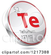 Clipart Of A 3d Floating Round Red And Silver Tellurium Chemical Element Icon Royalty Free Vector Illustration