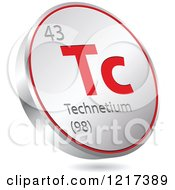 Clipart Of A 3d Floating Round Red And Silver Technetium Chemical Element Icon Royalty Free Vector Illustration