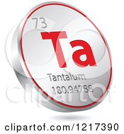 Clipart Of A 3d Floating Round Red And Silver Tantalum Chemical Element Icon Royalty Free Vector Illustration