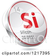 Clipart Of A 3d Floating Round Red And Silver Silicon Chemical Element Icon Royalty Free Vector Illustration