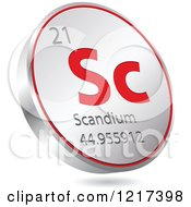 Clipart Of A 3d Floating Round Red And Silver Scandium Chemical Element Icon Royalty Free Vector Illustration