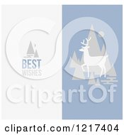 Clipart Of A Deer With Trees And Best Wishes Text Royalty Free Vector Illustration by elena