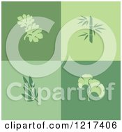 Clipart Of Green Leaf Logos Royalty Free Vector Illustration by elena