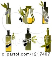 Clipart Of Bottles Of Extra Virgin Olive Oil Royalty Free Vector Illustration