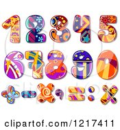 Clipart Of Colorful Funky Patterned Numbers And Math Symbols Royalty Free Vector Illustration