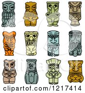 Clipart Of Idol And Demon Tribal Masks 2 Royalty Free Vector Illustration