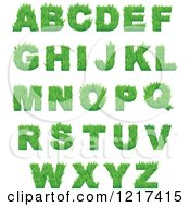 Clipart Of Green Grassy Capital Alphabet Letters Royalty Free Vector Illustration