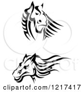 Clipart Of Black And White Tribal Horses Royalty Free Vector Illustration