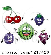 Clipart Of Cheery Plum Watermelon Blackberry And Grape Characters Royalty Free Vector Illustration