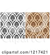 Clipart Of Black And White And Brown Seamless Vintage Damask Patterns 2 Royalty Free Vector Illustration