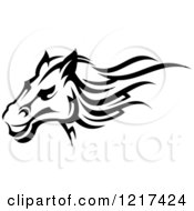 Clipart Of A Black And White Tribal Horse 2 Royalty Free Vector Illustration