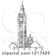 Black And White Sketched Big Ben Clock Tower