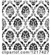 Clipart Of A Black And White Seamless Vintage Damask Pattern 2 Royalty Free Vector Illustration