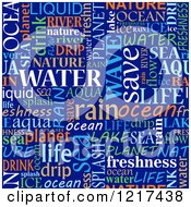 Clipart Of A Seamless Word Collage Of Water Tag Words On Blue Royalty Free Vector Illustration by Vector Tradition SM
