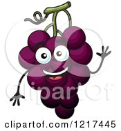 Clipart Of A Waving Purple Grapes Character Royalty Free Vector Illustration