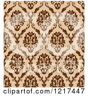 Clipart Of A Brown Seamless Vintage Damask Pattern 2 Royalty Free Vector Illustration