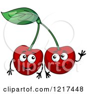 Clipart Of Happy Cherry Characters Royalty Free Vector Illustration