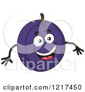 Clipart Of A Happy Plum Character Royalty Free Vector Illustration