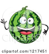 Clipart Of A Waving Watermelon Character Royalty Free Vector Illustration