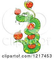 Clipart Of A Happy Coiled Snake With Christmas Baubles Royalty Free Vector Illustration by Zooco