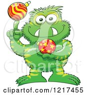 Clipart Of A Happy Monster Spinning And Holding Christmas Baubles Royalty Free Vector Illustration by Zooco