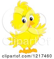 Clipart Of A Cute Yellow Baby Parrot Royalty Free Vector Illustration by Alex Bannykh