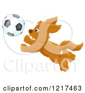 Clipart Of A Happy Dog Chasing A Soccer Ball Royalty Free Illustration