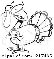 Clipart Of An Outlined Scared Cartoon Turkey Bird Clasping His Hands Royalty Free Vector Illustration