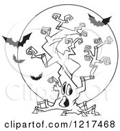 Clipart Of An Outlined Cartoon Halloween Spooky Tree With Vampire Bats Royalty Free Vector Illustration
