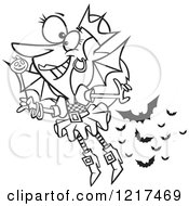Clipart Of An Outlined Cartoon Halloween Fairy With Bats Royalty Free Vector Illustration