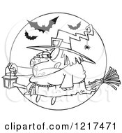 Clipart Of An Outlined Cartoon Fat Halloween Witch Holding A Lantern On A Broomstick Royalty Free Vector Illustration by toonaday