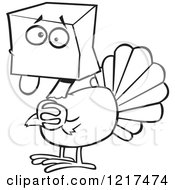 Clipart Of An Outlined Scared Cartoon Turkey Bird Hiding Under A Bag Royalty Free Vector Illustration