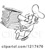 Clipart Of An Outlined Cartoon Pizza Chef Carrying Delivery Boxes Royalty Free Vector Illustration by toonaday