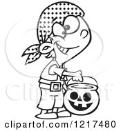 Clipart Of An Outlined Cartoon Halloween Boy Trick Or Treating As A Pirate Royalty Free Vector Illustration by Ron Leishman
