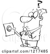 Outlined Cartoon Man Pondering Over Copyright