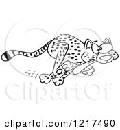 Outlined Cartoon Cheetah Running With Its Tongue Hanging Out