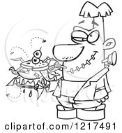 Clipart Of An Outlined Cartoon Frankenstein Holding A Bad Sandwich Royalty Free Vector Illustration