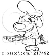 Clipart Of An Outlined Cartoon Chef Dog Holding Fresh Baked Biscuits On A Tray Royalty Free Vector Illustration