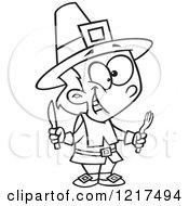 Clipart Of An Outlined Cartoon Hungry Thanksgiving Pilgrim Boy Holding Silverware Royalty Free Vector Illustration by toonaday
