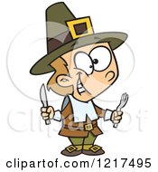 Clipart Of A Cartoon Hungry Thanksgiving Pilgrim Boy Holding Silverware Royalty Free Vector Illustration by toonaday