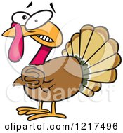 Clipart Of A Scared Cartoon Turkey Bird Clasping His Hands Royalty Free Vector Illustration