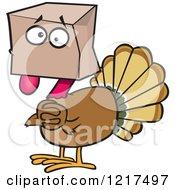 Clipart Of A Scared Cartoon Turkey Bird Hiding Under A Bag Royalty Free Vector Illustration