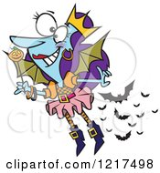 Clipart Of A Cartoon Halloween Fairy With Bats Royalty Free Vector Illustration