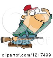 Clipart Of A Cartoon Farmer Or Hunter Shielding His Eyes And Holding A Rifle Royalty Free Vector Illustration by toonaday