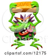 Clay Sculpture Clipart Germ Holding A Bar Of Soap Royalty Free 3d Illustration by Amy Vangsgard