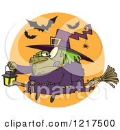Clipart Of A Cartoon Fat Halloween Witch Holding A Lantern On A Broomstick Royalty Free Vector Illustration